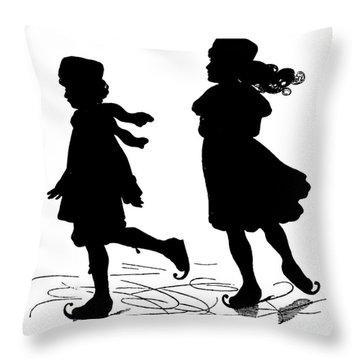 Kids Ice Skating Silhouette By Paul Konewka Throw Pillow