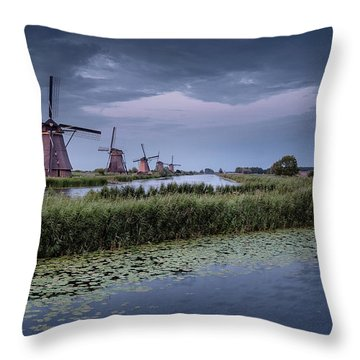 Kinderdijk Dark Sky Throw Pillow