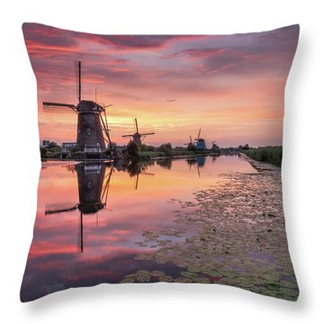Kinderdijk Sunset Throw Pillow