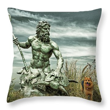 Throw Pillow featuring the photograph King Neptune And Miss Hanna At Cape Charles by Bill Swartwout Fine Art Photography