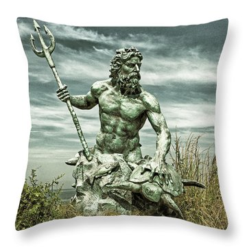 Throw Pillow featuring the photograph King Neptune Guards The Cape Charles Beach by Bill Swartwout Fine Art Photography