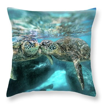 Kissing Turtle Throw Pillow