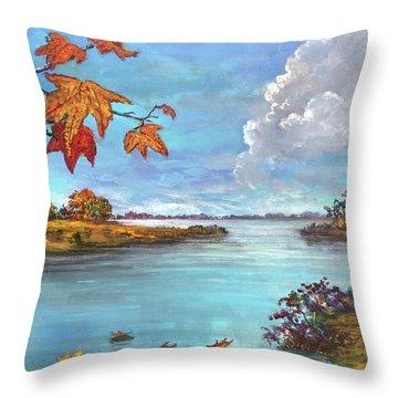 Kites, Clouds And Sailboats Throw Pillow