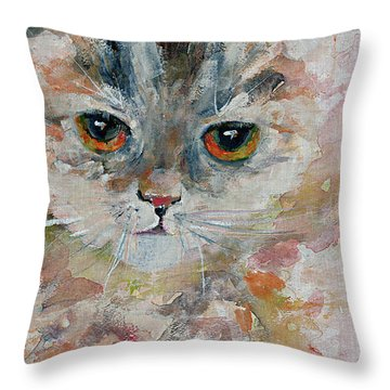 Kitten Portrait Throw Pillow
