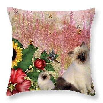 Kittens Garden Throw Pillow