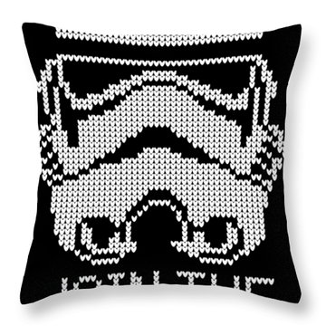 Knitted Storm Trooper - Join The Empire Throw Pillow