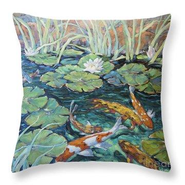 Koi Fish Pond By Richard Pranke Throw Pillow