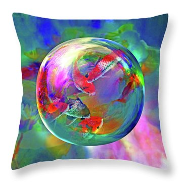Koi Pond In The Round Throw Pillow