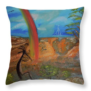 Kokopelli Calls The Storm Throw Pillow