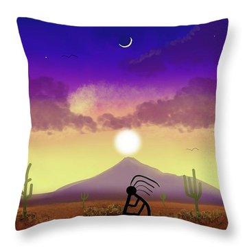 Kokopelli Dream World Throw Pillow