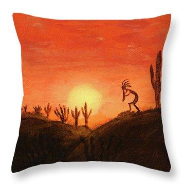 Kokopelli's Sunset Song Throw Pillow
