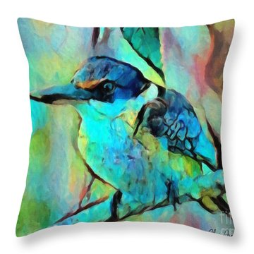 Throw Pillow featuring the painting Kookaburra Blues by Chris Armytage