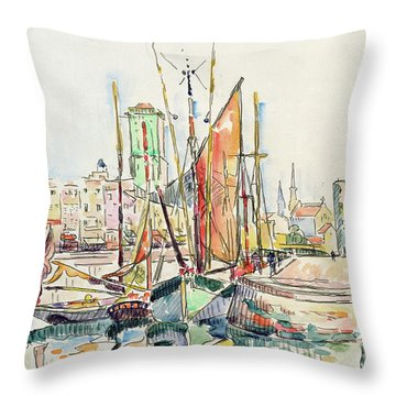 La Rochelle Boats And Houses Throw Pillow