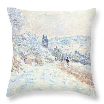 La Route De Vetheuil, Effet De Neige, 1879 Throw Pillow