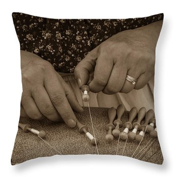 Throw Pillow featuring the photograph Lacemaker 1364 by Guy Whiteley