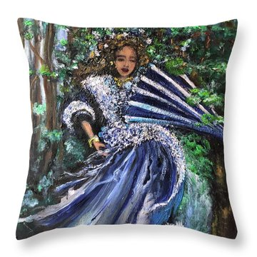 Lady In Forest Throw Pillow
