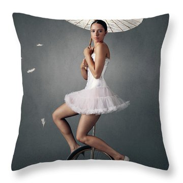 Lady On A Unicycle Throw Pillow