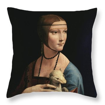 Lady With An Ermine, 1489 Throw Pillow