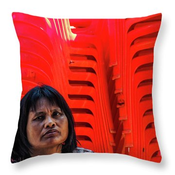 Lady With Red Chairs Throw Pillow