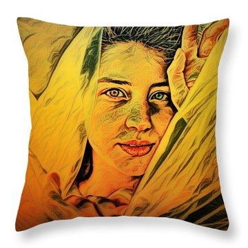 Lady Wrapped In Strings Throw Pillow