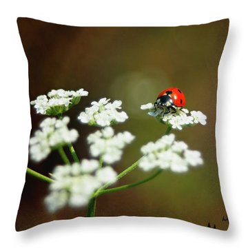 Ladybug In White Throw Pillow