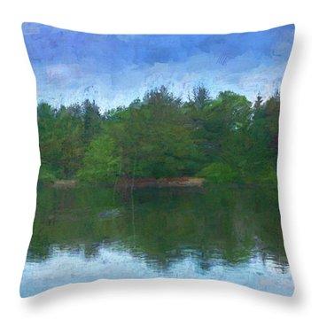 Lake And Trees Throw Pillow