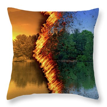 Lake Forest Fire Throw Pillow