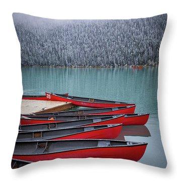 Lake Louise Canoes Throw Pillow