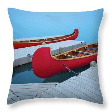 Lake Louise Two Canoes Throw Pillow