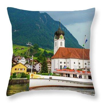 Lake Lucerne Steamer Throw Pillow