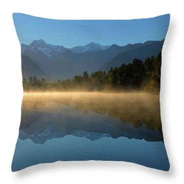 Lake Matheson Morning Throw Pillow