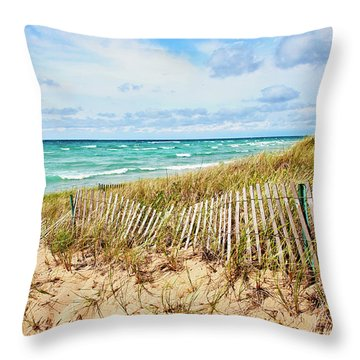 Lake Michigan Beachcombing Throw Pillow