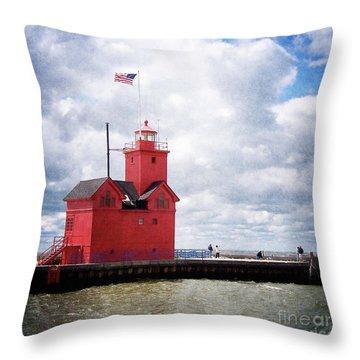 Lake Michigan Light House Throw Pillow