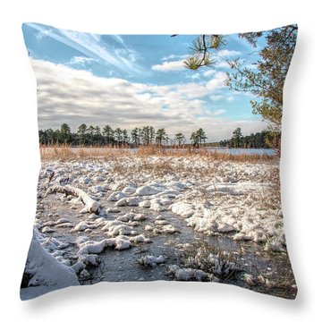 Throw Pillow featuring the photograph Lake Oswego After The Snow  by Kristia Adams