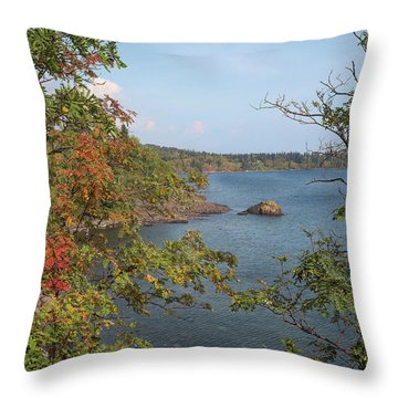 Lake Superior Autumn Throw Pillow