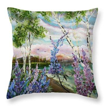 Lakeside Lupin Throw Pillow