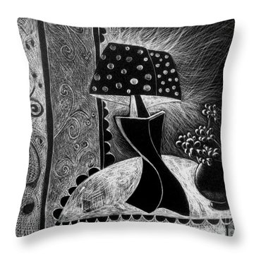 Lamp And Flowers. Throw Pillow