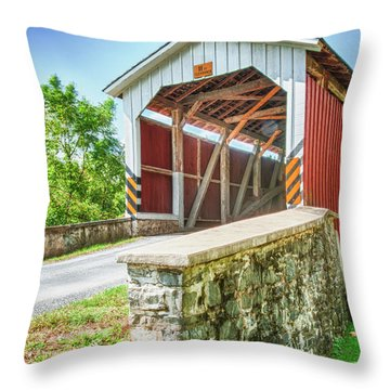 Lancaster Covered Bridge Throw Pillow