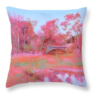 Landscape In Pink Throw Pillow