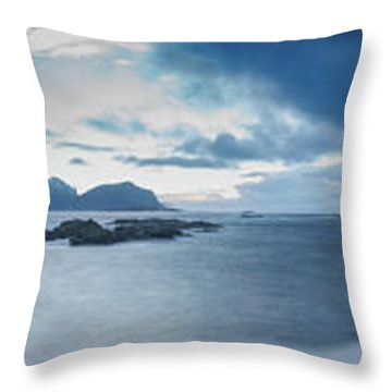 Landscape In The Lofoten Islands Throw Pillow