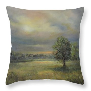 Landscape Of A Meadow With Sun And Trees Throw Pillow