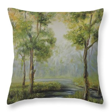 Landscape Of The Great Swamp Of New Jersey With Pond Throw Pillow