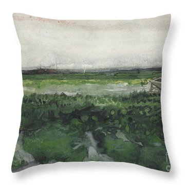 Landscape With Wheelbarrow, 1883  Throw Pillow