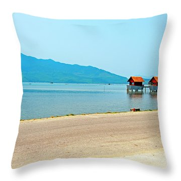 Lang Co Houses On The Water - Hue, Vietnam Throw Pillow
