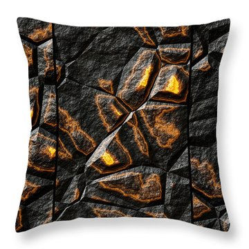 Large Gold Stone Triptych Throw Pillow
