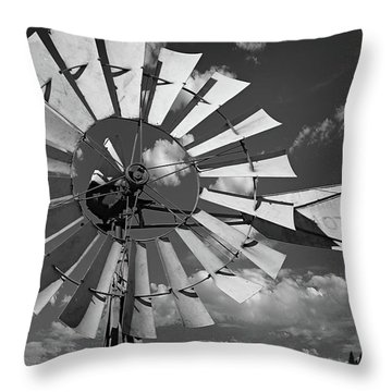 Large Windmill In Black And White Throw Pillow