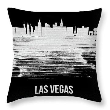 Las Vegas Skyline Brush Stroke Blue Throw Pillow