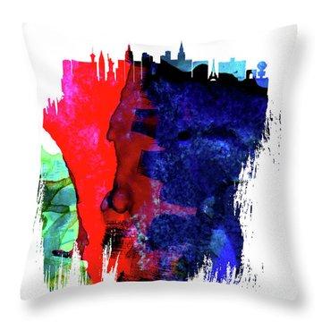 Las Vegas Skyline Brush Stroke Watercolor   Throw Pillow