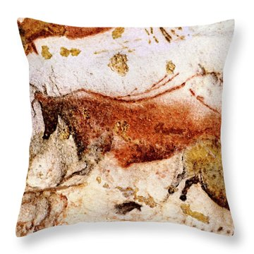 Lascaux Cow And Horses Throw Pillow