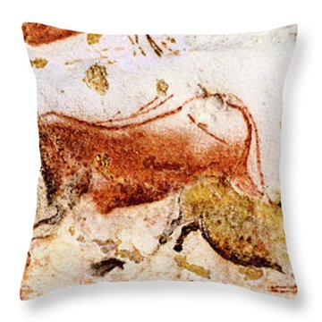 Lascaux Cows Horses And Deer Throw Pillow